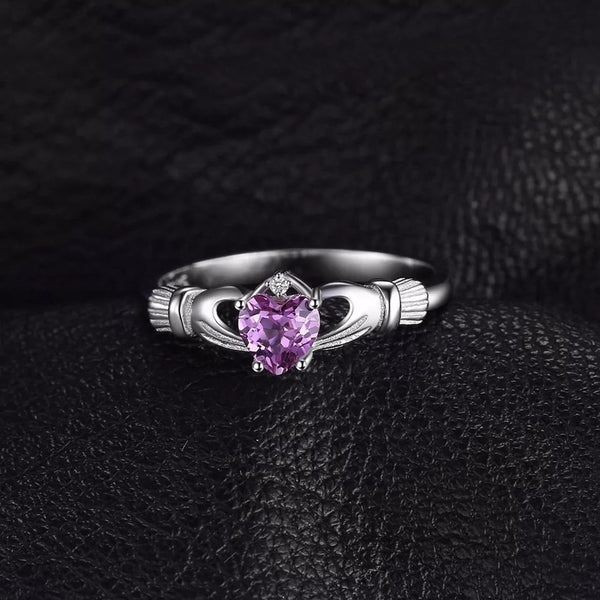 Sterling Silver Ring with February Birthstone Amethyst - HNS Studio