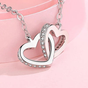 Silver Interlocking Heart Necklace -HNS Studio