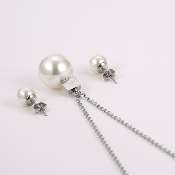 Pearl Earrings and necklace Set