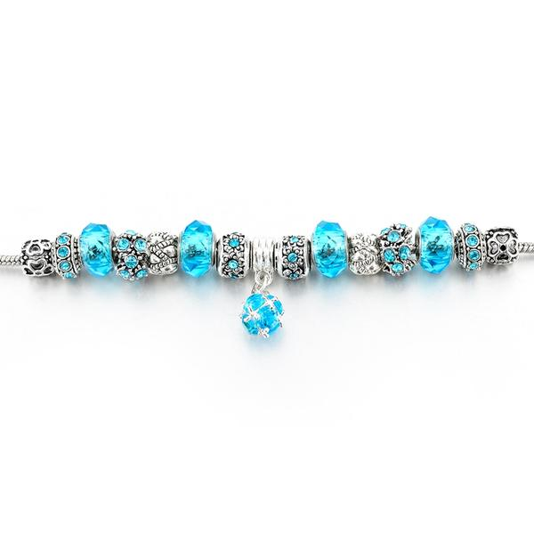 Ocean Blue Silver Charm Bracelet for Women and Girls - HNS Studio
