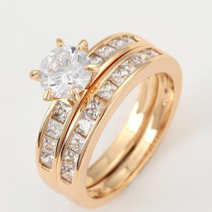 18K Gold plated Wedding Ring Set - HNS Studio