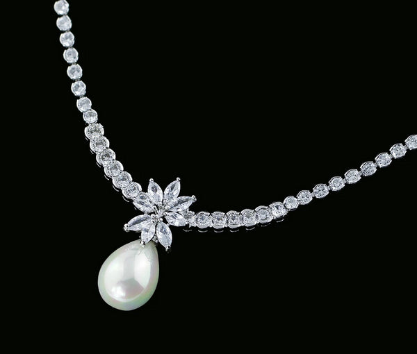 Pearl and Cubic Zirconia Necklace and Earring Set - HNS Studio