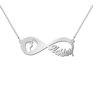 Baby Footprint Infinity Name Necklace - HNS Studio