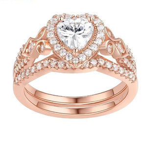 Rose gold Wedding ring set