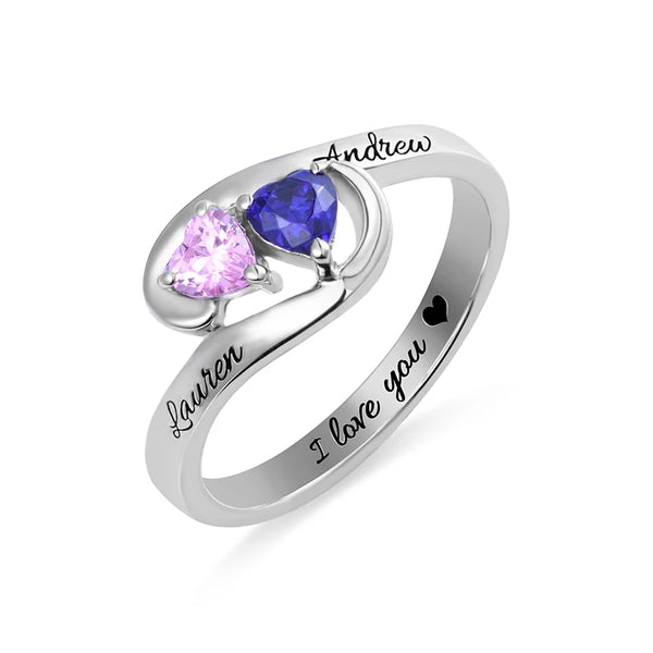 Pair of Hearts Sterling Silver Ring with Birthstones and Names - HNS Studio