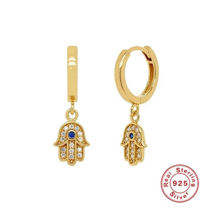 Small Dangle Hamsa Hoop Earrings