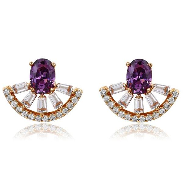 18K Gold Plated Brilliant Cut Cubic Zirconia Stud Earrings