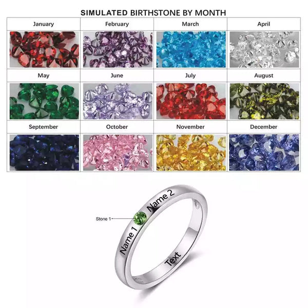 Personalized Sterling Silver Ring with Birthstone and names - HNS Studio