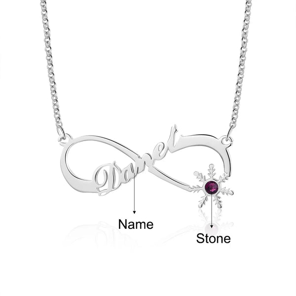 Infinity Sterling Silver Name necklace with Birthstone