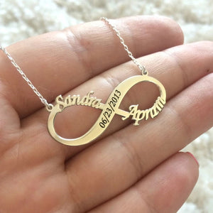 Infinity Necklace with 2 Names and Date