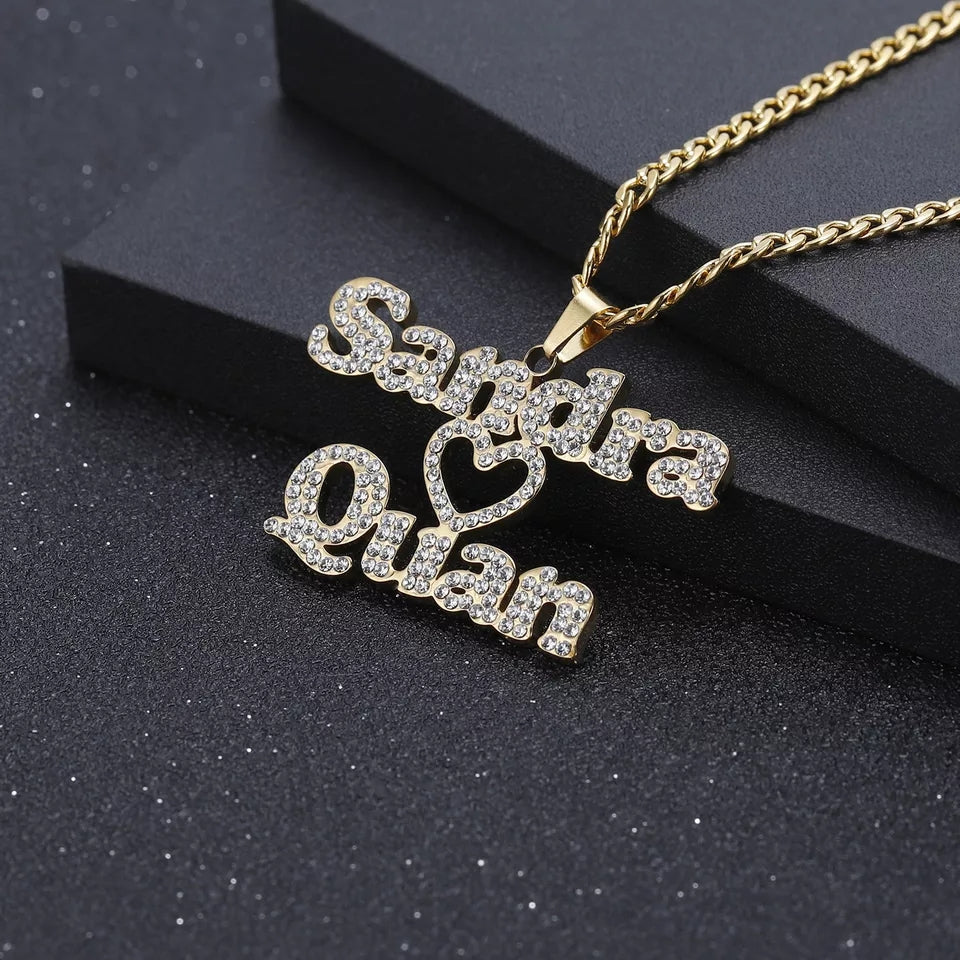 Ice out two names necklace