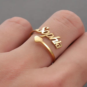 Personalized Name Ring With Heart - HNS Studio