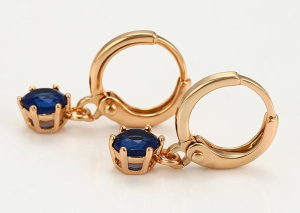 18k Gold plated Earrings with Sapphire stone HNS Studio Canada
