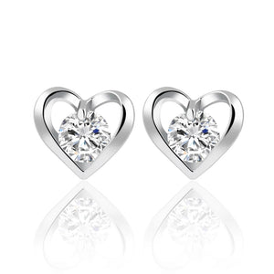 Silver Heart Earrings Studs - HNS Studio