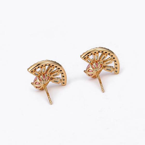 18K Gold Plated Silver Brilliant Cut Simulated Diamond CZ Stud
