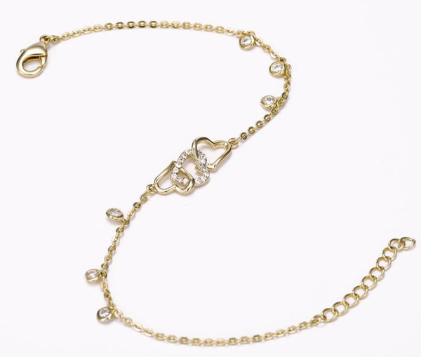 Interlocking Hearts Gold Bracelet