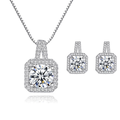 Cubic Zircon Sterling Silver Necklace set