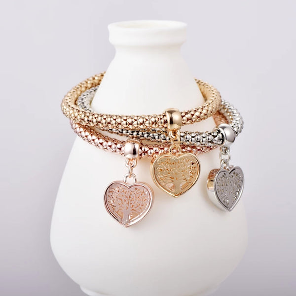 Tree of Life Charm Bracelet - Heart Edition with Austrian Crystals - HNS Studio