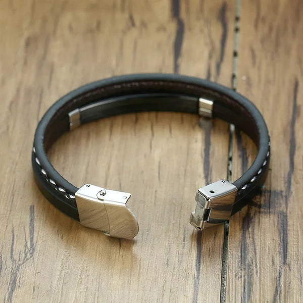 Engraved Bracelet for Men in Stainless Steel and Black leather