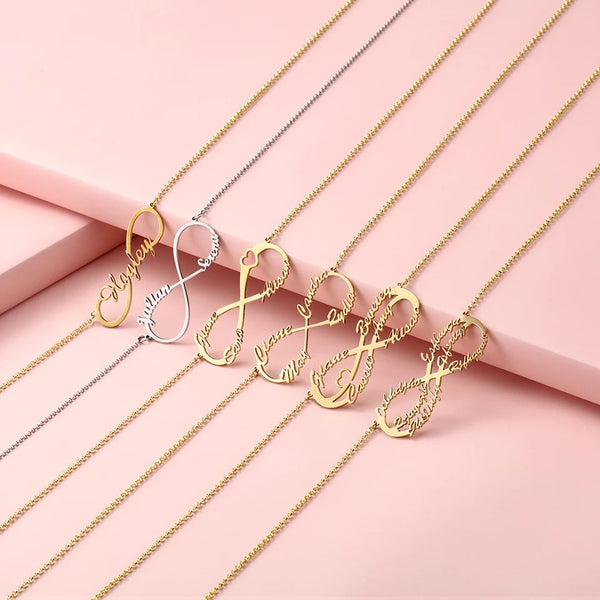 Gold Plated Sterling Silver Personalized Infinity Name Necklace - HNS Studio