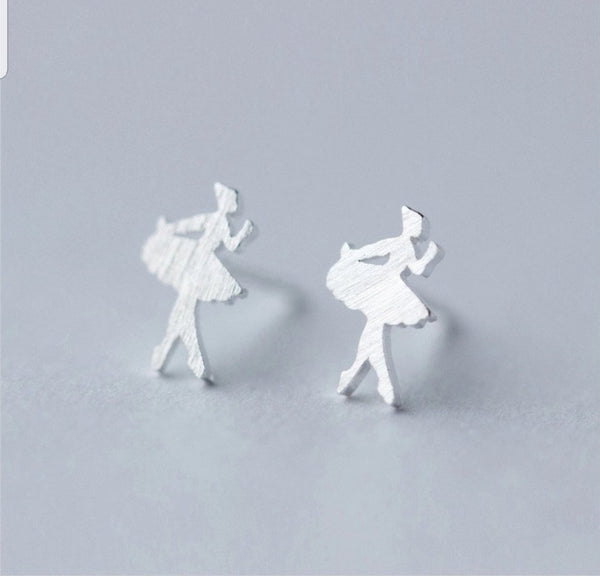 Sterling Silver Ballerina earrings Studs