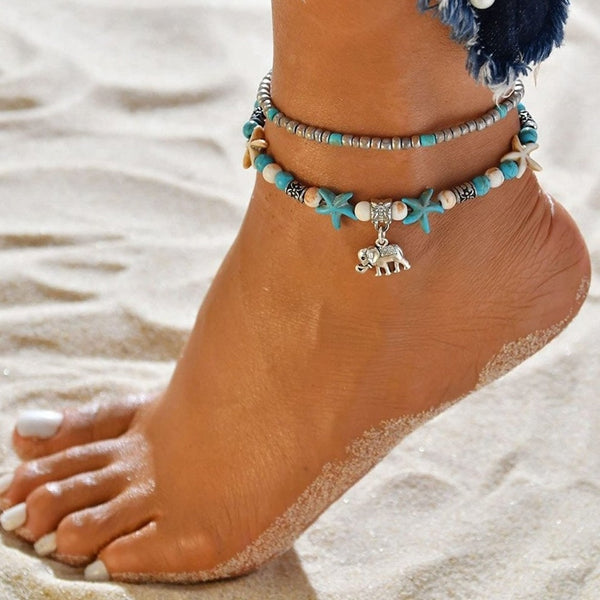 Multilayer Elephant charm Boho anklet