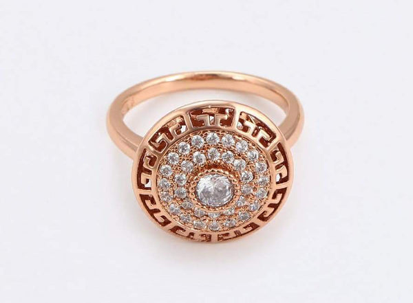 Rose Gold Ring with Fine Work of Cubic Zirconia