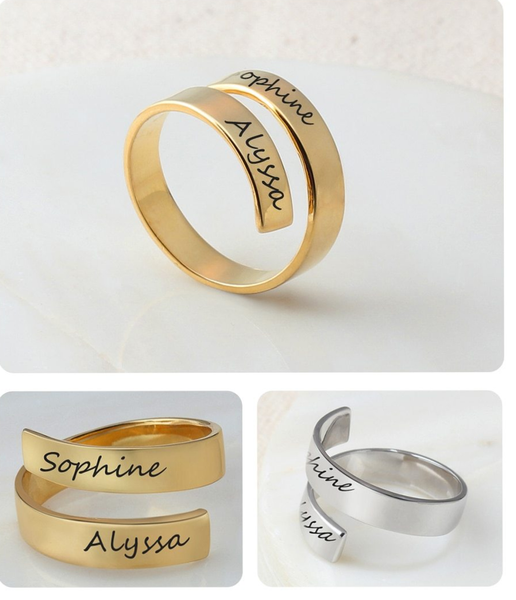 Engraved Two Names Ring