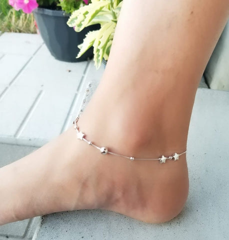 Sterling Silver Bead and Star Anklet