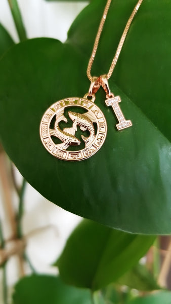 Rose gold Zodiac necklace with Initial