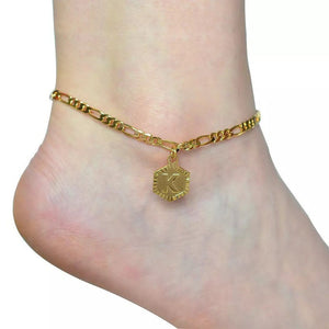 gold initial anklet