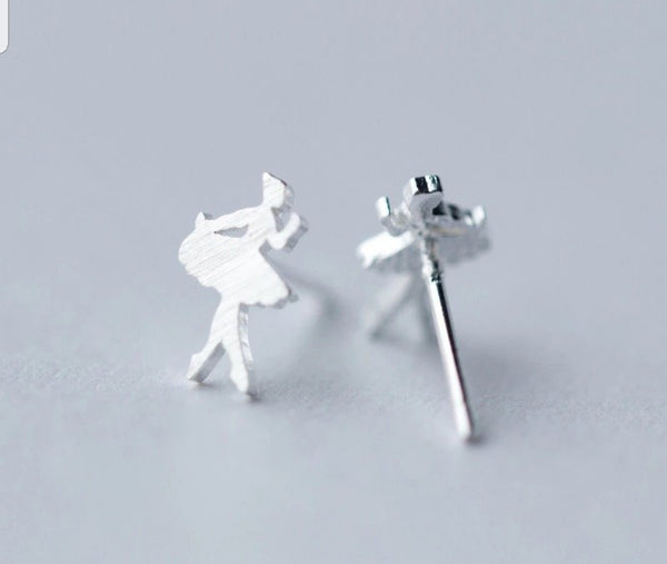 Sterling Silver Ballerina earrings Studs - HNS Studio