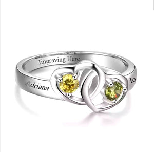 Interlock Hearts Promise Ring Custom Names with Birthstones - HNS Studio