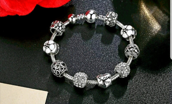 White Charms Bracelet with Love and Flower charms - HNS Studio