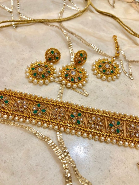 Golden Polki Necklace, Green Tumbled Drop Earrings and Maang Tikka Set
