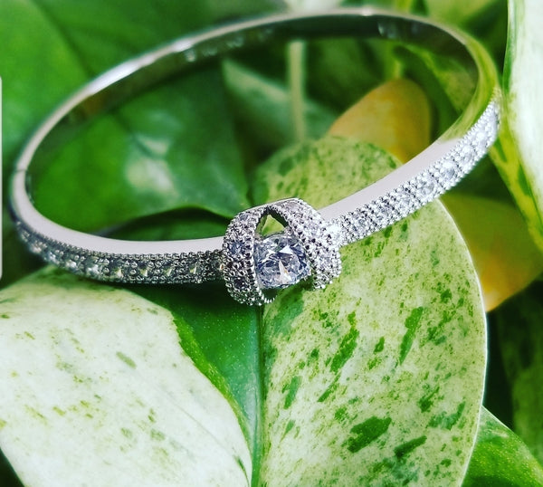 Rhodium Plated Bangle with Clear Cubic Zirconia
