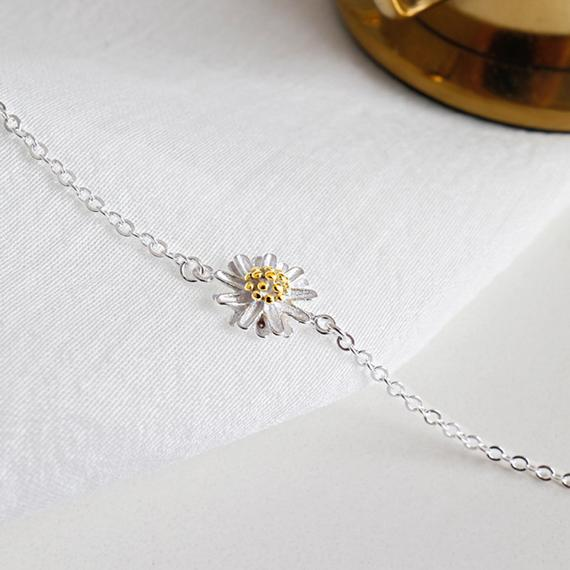 Sterling Silver Daisy Flower Anklet - HNS Studio