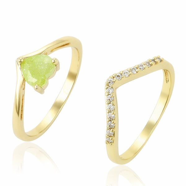 Light Green Peridot Heart shaped stone 14K Gold plated Ring set Size 7 - HNS Studio