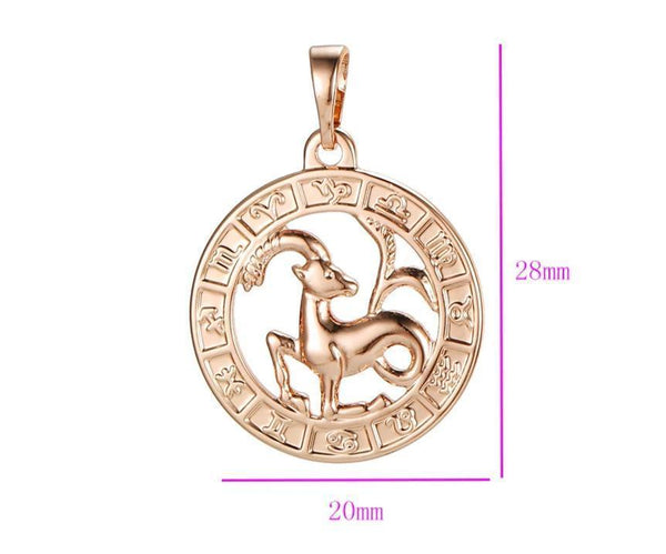 Rose gold Zodiac necklace with Initial HNS Studio Canada