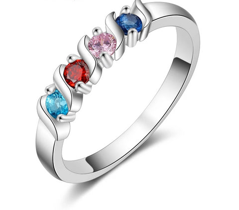 Four Birthstones Personalized Family Ring - HNS Studio