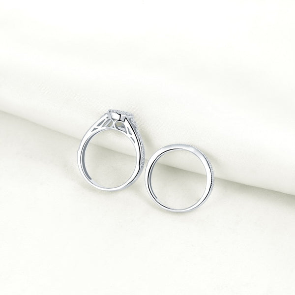 Pear Cut Sterling Silver Ring Set - HNS Studio