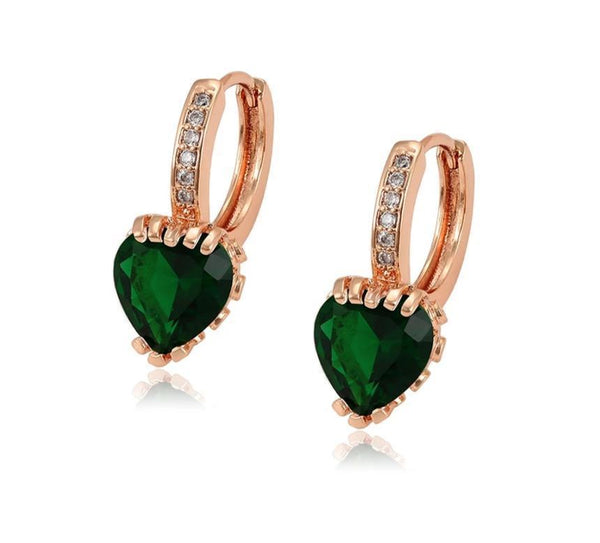 Rose Gold Heart Earrings - HNS Studio