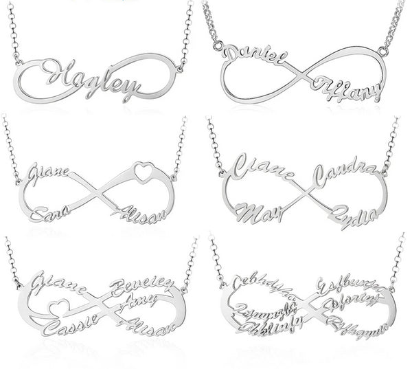 Sterling Silver Personalized Infinity Name Necklace - HNS Studio