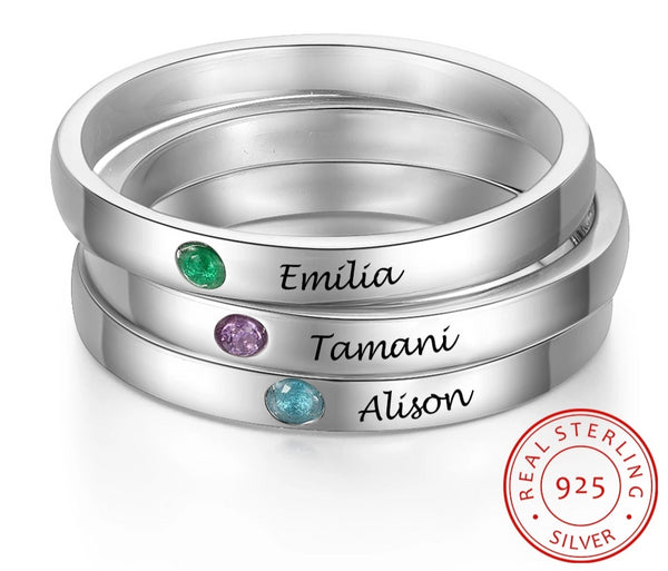Stackable Birthstone Sterling Silver Rings with Engraving - HNS Studio