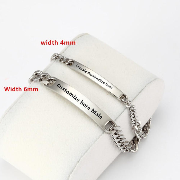 Personalized Engraved Couples Matching Bracelets Stainless Steel