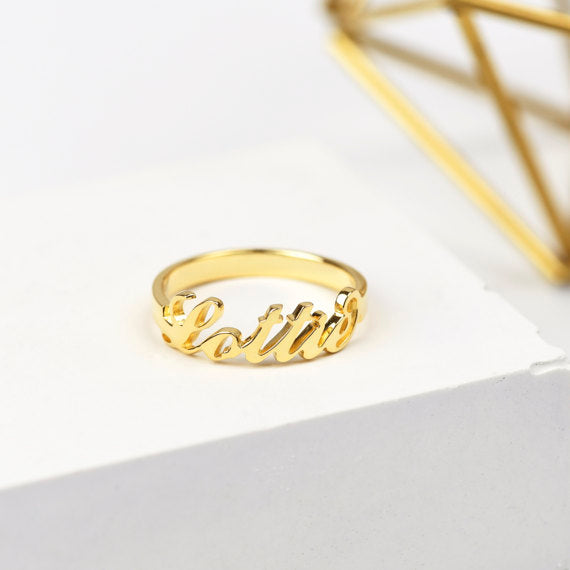 925 Sterling Silver Name Ring - HNS Studio
