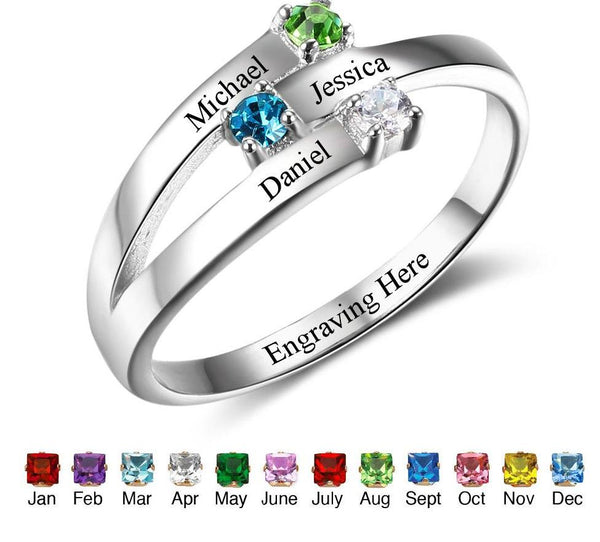 925 Sterling Silver Personalized Family Ring - HNS Studio