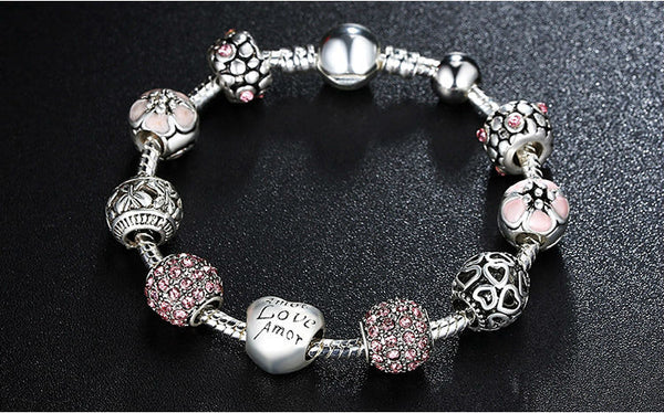 Silver Charm Bracelet Antique Style Love Charms - HNS Studio