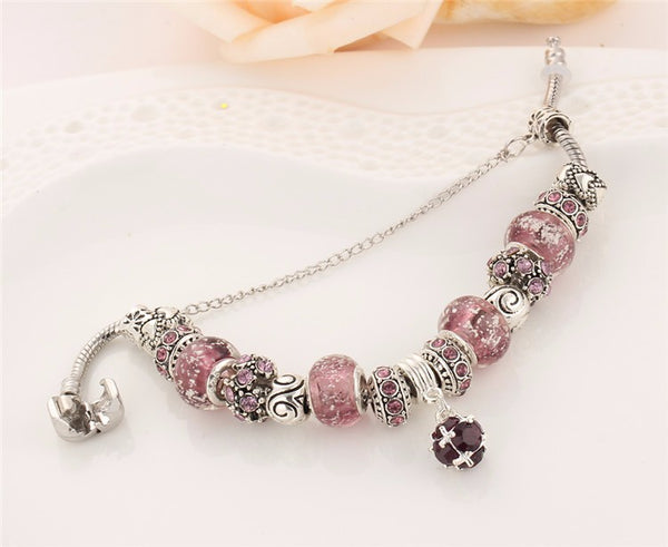 Silver Plated Charm Bracelets with Pink Charms and Beads