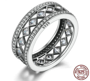 925 Sterling Silver Square Crystals ring - HNS Studio